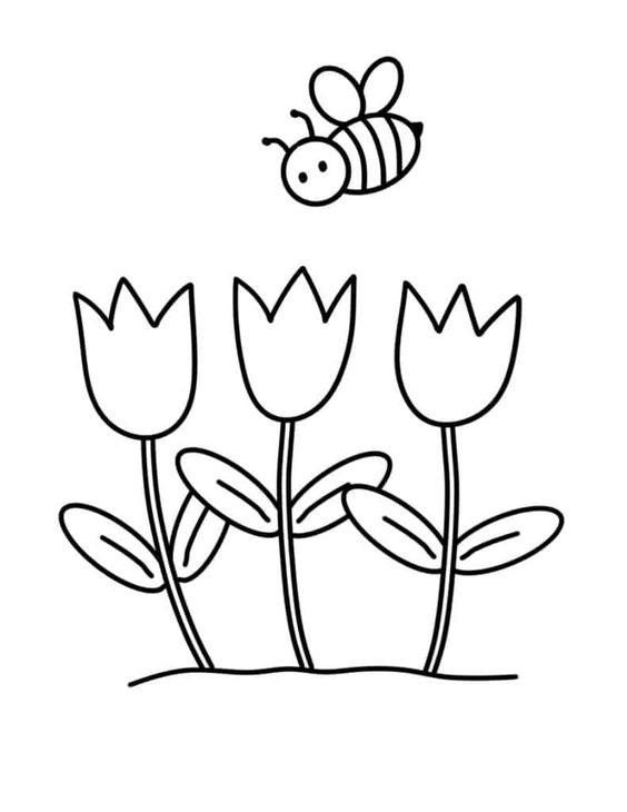Tranh tô màu vườn hoa tulip đáng yêu nhất dành cho bé gái