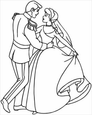 Tranh tô màu công chúa nhảy múa cùng hoàng tử