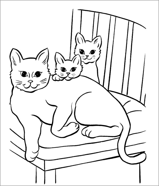 Tranh tô màu mèo mẹ và con