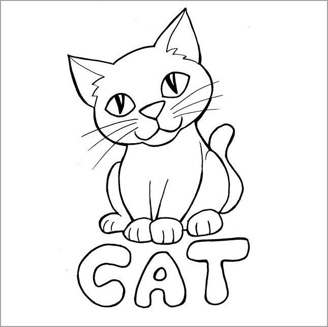 Tranh tô màu con mèo nhìn chăm chú