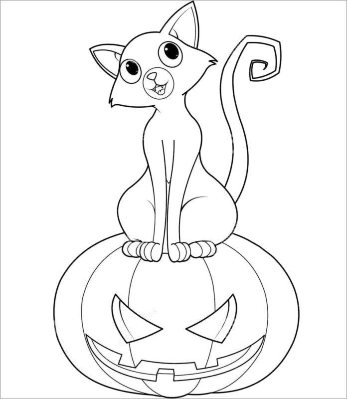 Tranh tô màu con mèo bí đỏ halloween