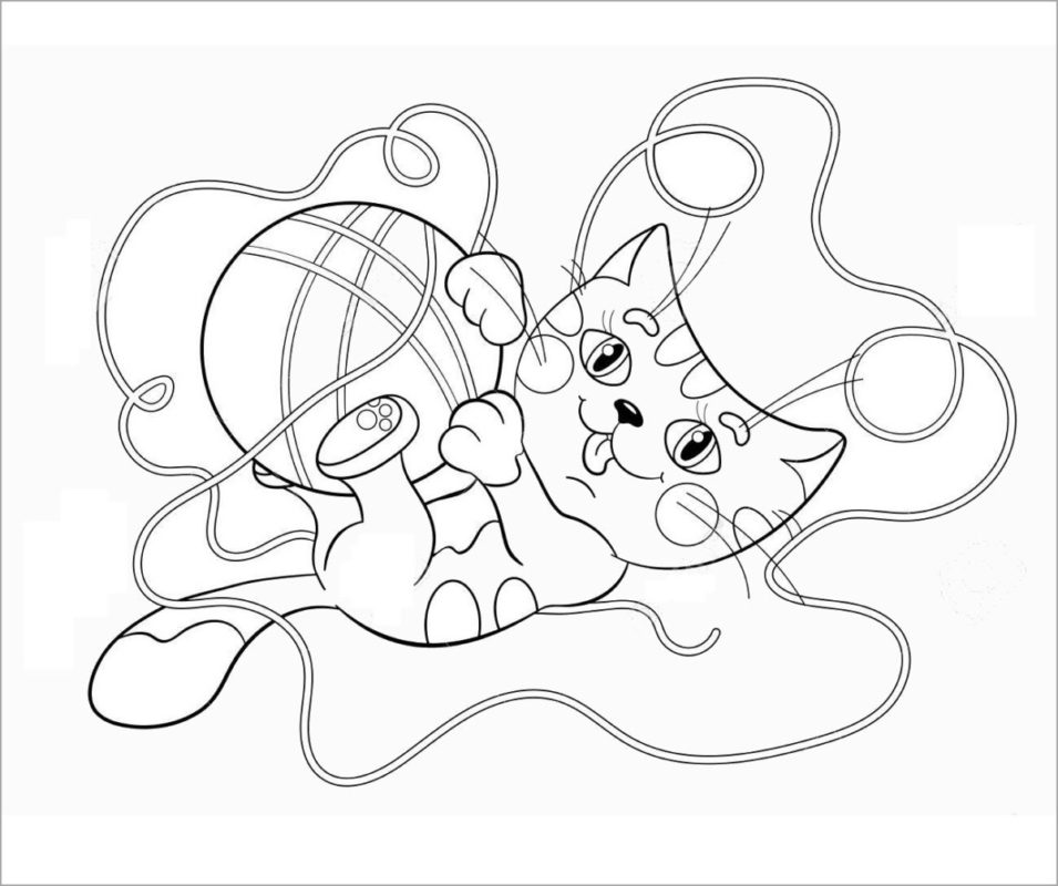 Tranh tô màu con mèo và cuộn len