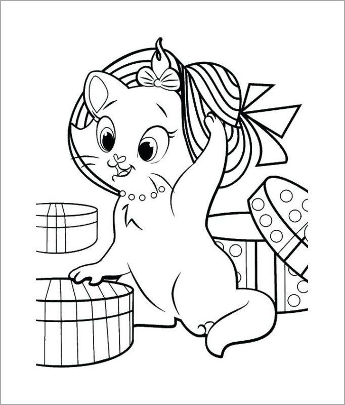 Tranh tô màu chú mèo Marry xinh đẹp