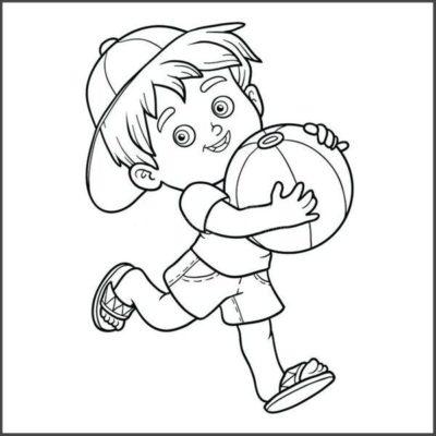 Tranh tô màu bé trai ôm bóng