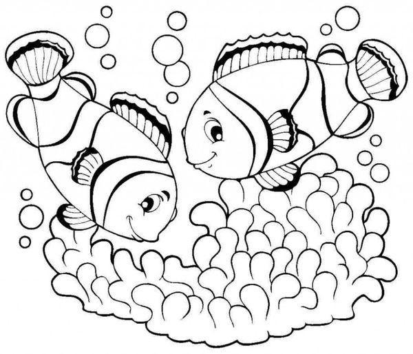 Mẫu tranh tô màu những con cá dễ thương