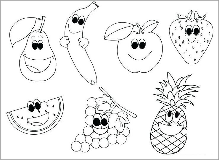 tranh tô màu hoa quả siêu đáng yêu cho các bạn nhỏ