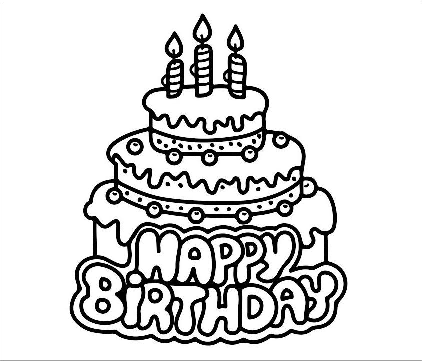 tranh tô màu bánh sinh nhật cho bé 5 tuổi