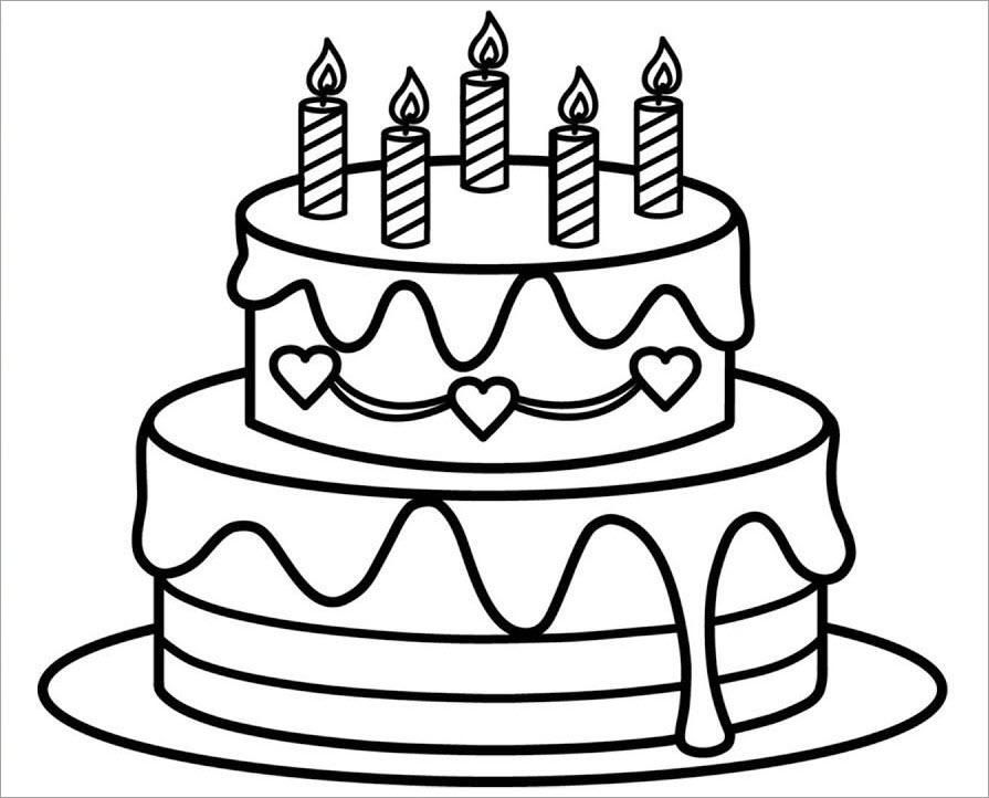 tranh tô màu bánh sinh nhật cho bé 4 tuổi