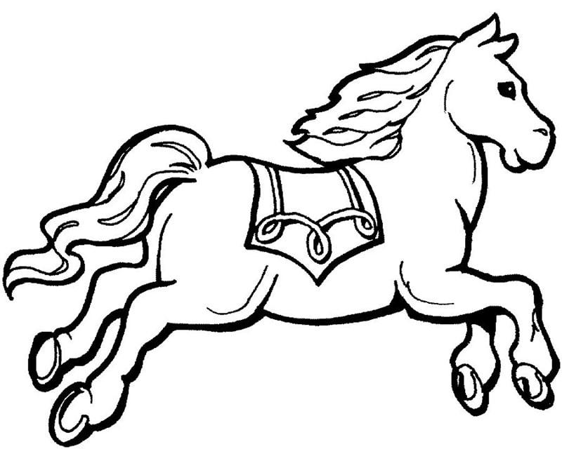 tranh tô màu chú ngựa xinh xắn dành cho bé 4+5 tuổi