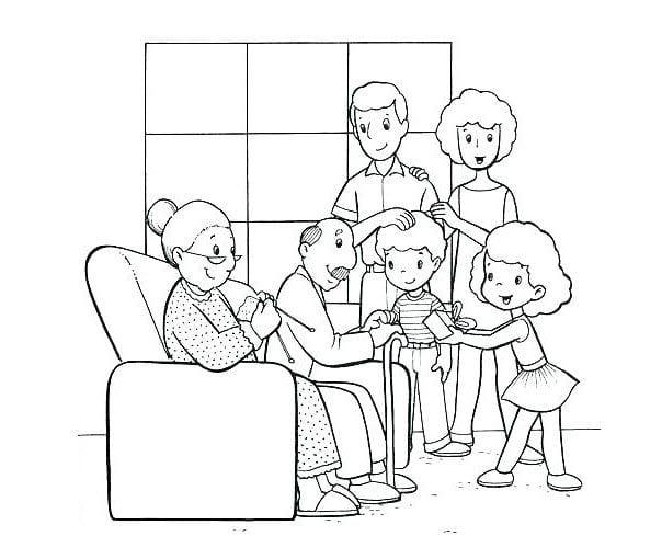 tranh tô màu gia đình cho bé