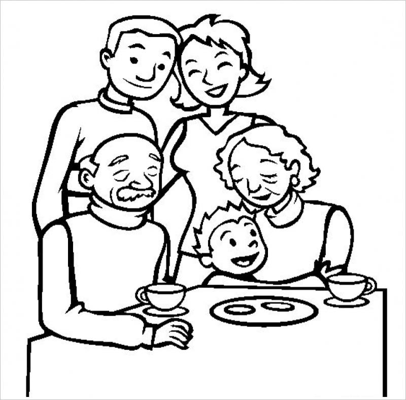 tranh tô màu gia đình hạnh phúc cho bé