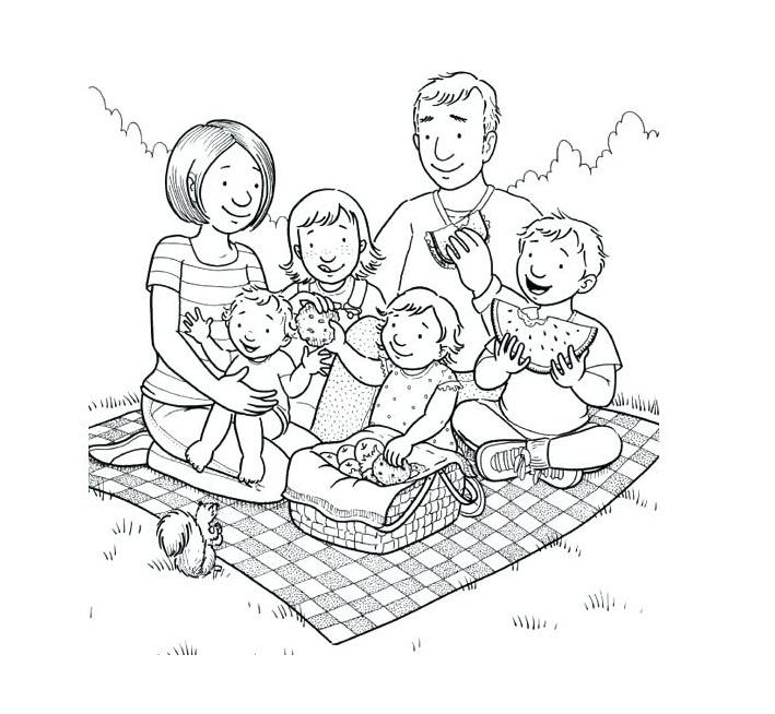 tranh tô màu gia đình hạnh phúc khi đi chơi