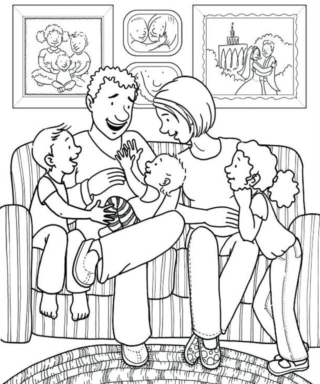 tranh tô màu gia đình hạnh phúc