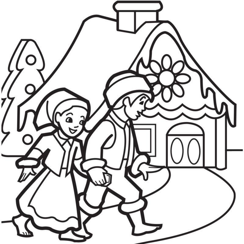 tranh tô màu ngôi nhà thôn quê cho bé