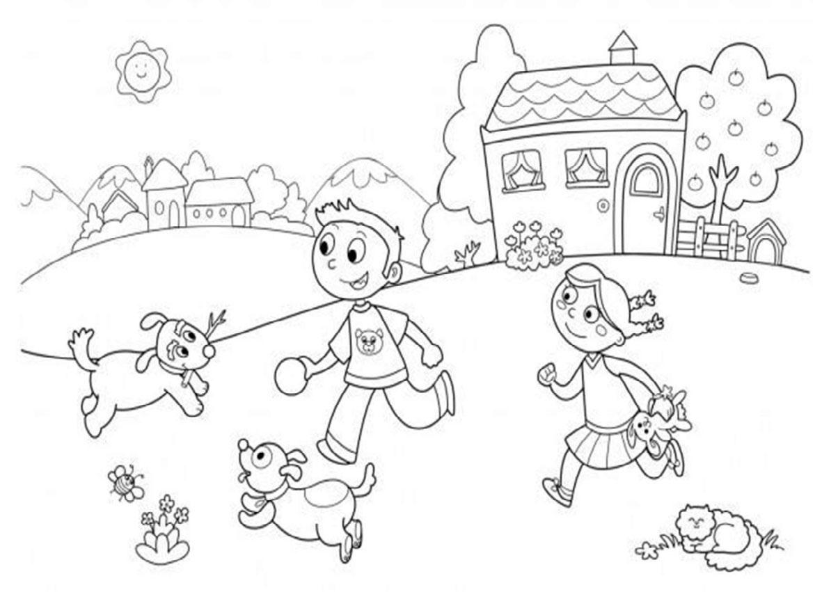 tranh tô màu ngôi nhà nông thôn vui vẻ