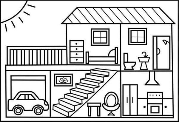 tranh tô màu ngôi nhà trắng đen 2+