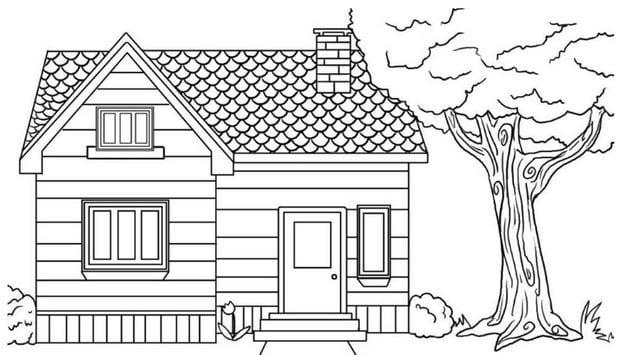 tranh tô màu ngôi nhà đẹp 3