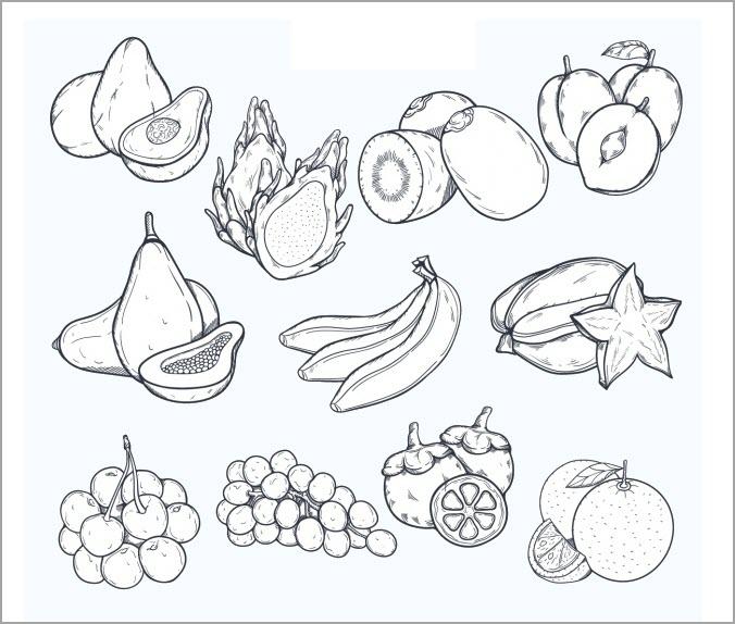 tranh tô màu hoa quả dành cho bé tập tô siêu đáng yêu